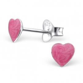 Kinderoorbellen Sterling zilver 925 Hartjes roze