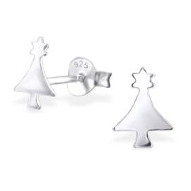 Kinderoorbellen Sterling zilver 925 Kerstboom met sterretjes