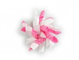 Gekruld lint wit/roze gestipt