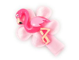 Lokknipje met bloem roze met flamingo