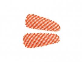 Babyhaarspeldjes oranje geruit