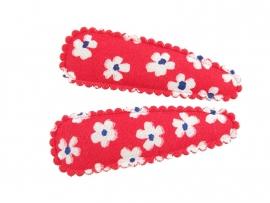 Haarspeldjes rood met witte bloemen
