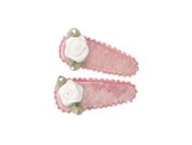 Babyhaarspeldjes oudroze fluweel met wit roosje