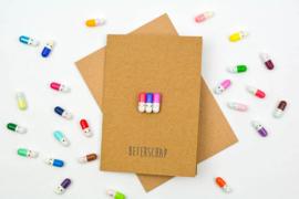 Beterschap Happy pills Wenskaart - By Caitlin©