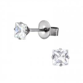 Oorbellen Chirurgisch staal Kristal 4mm