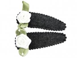 Haarspeldjes zwarte spijkerstof met wit roosje