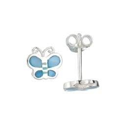 Kinderoorbellen Sterling zilver 925 Vlinder blauw