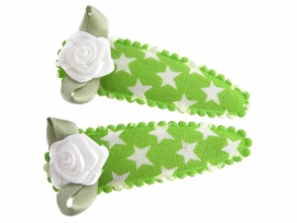 Haarspeldjes groen met ster en wit roosje
