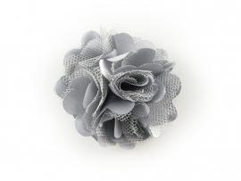 Haarbloem satijn/tule grijs