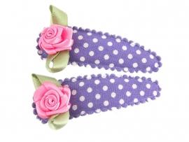 Haarspeldjes paars gestipt met fuchsia roosje