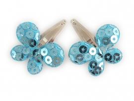 Babyhaarspeldjes blauwe pailletten vlinders