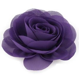 Haarbloem groot stof bloem donkerpaars