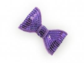 Lokknipje pailletten strik paars