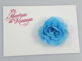 Haarbloem chiffon blauw
