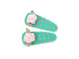 Babyhaarspeldjes groen/roze gestipt met roze roosje