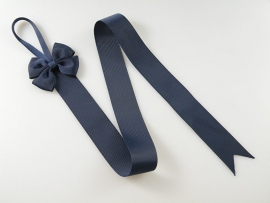 Haarspeldhouder met strik donkerblauw