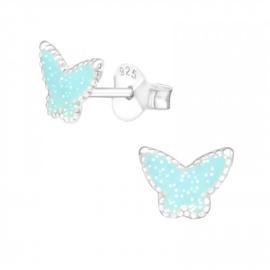 Kinderoorbellen Sterling zilver 925 Vlinder blauw glitter
