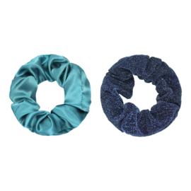Haarelastiekjes scrunchie groen/blauw