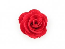 Haarbloem vilten roos rood