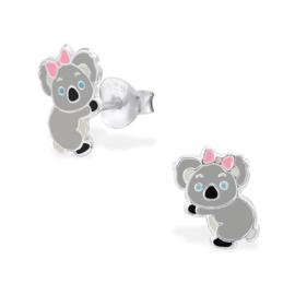 Kinderoorbellen Sterling zilver 925 Koala roze strikje