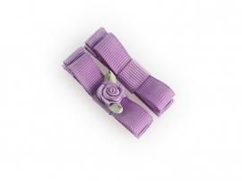 Lokknipje met lint paars met paars roosje