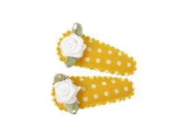 Babyhaarspeldjes geel gestipt met wit roosje