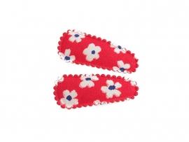 Babyhaarspeldjes rood met witte bloemen