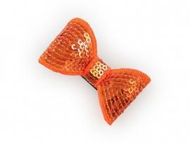 Lokknipje pailletten strik oranje