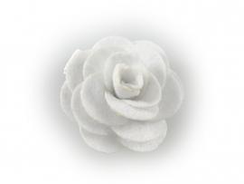 Haarbloem vilten roos wit