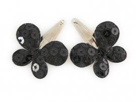 Babyhaarspeldjes zwarte pailletten vlinders