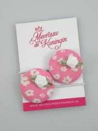 Stofknoop roze gebloemd met wit roosje