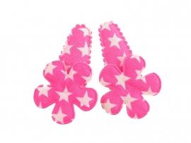 Babyhaarspeldjes felroze met ster en bloem