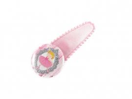 Haarspeldje met button roze satijn met ballerina