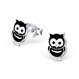 Kinderoorbellen Sterling zilver 925 Zwarte uiltjes
