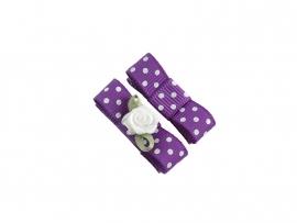 Babyhaarspeldje met lint paars gestipt met wit roosje
