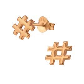 Oorbellen Sterling zilver 925 Hashtag
