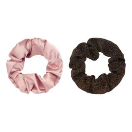 Haarelastiekjes scrunchie roze/bruin