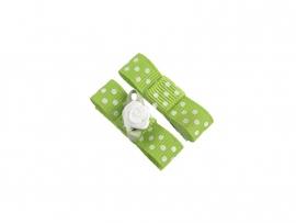 Babyhaarspeldje met lint groen gestipt met wit roosje
