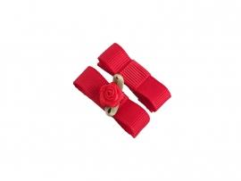 Babyhaarspeldje met lint rood met rood roosje