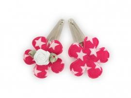 Babyhaarspeldjes fuchsia bloem met ster