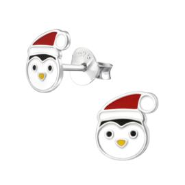 Kinderoorbellen Sterling zilver 925 Pinguin met kerstmuts