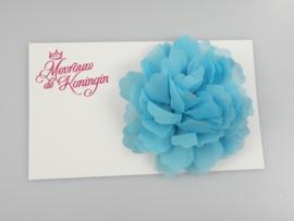 Haarbloem chiffon groot blauw