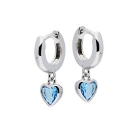 Kinderoorbellen Sterling zilver 925 Klapcreool Blauw hartje