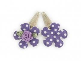 Babyhaarspeldjes paarse gestipte bloem