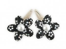 Babyhaarspeldjes zwarte zilverprint met parel