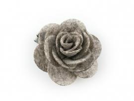 Haarbloem vilten roos grijs