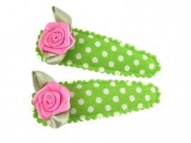 Haarspeldjes groen gestipt met fuchsia roosje
