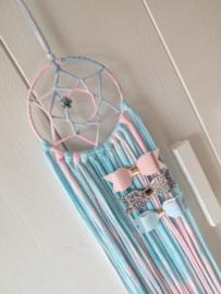Haarspeldhouder dromenvanger roze/blauw