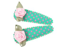 Haarspeldjes groen/roze gestipt met roze roosje