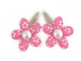 Babyhaarspeldjes roze zilverprint met parel